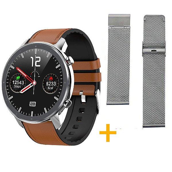 Relógio Eletrônico Smartwatch L11 - Marrom com Detalhes Prata + Pulseira Extra Prata - IOS e Android