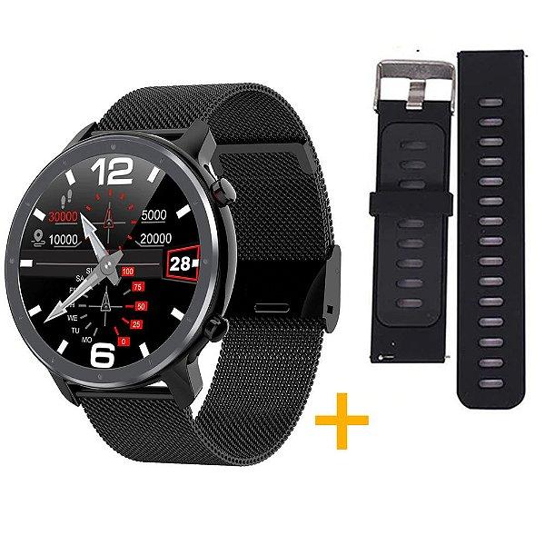 Relógio Eletrônico Smartwatch L11 - Preto + Pulseira Extra Preto com Cinza - IOS e Android