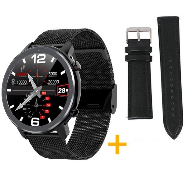 Relógio Eletrônico Smartwatch L11 - Preto + Pulseira Extra Preto Couro - IOS e Android