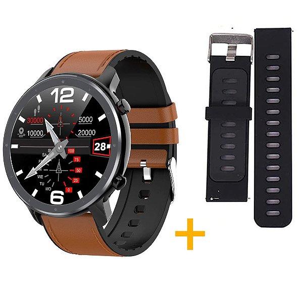 Relógio Eletrônico Smartwatch L11 - Marrom com Detalhes Preto + Pulseira Extra Preto com Cinza - IOS e Android