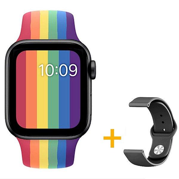 Relógio Smartwatch IWO W26 - Arco Íris - Tela Infinita - IOS / Android - 44mm + Pulseira Extra Preto