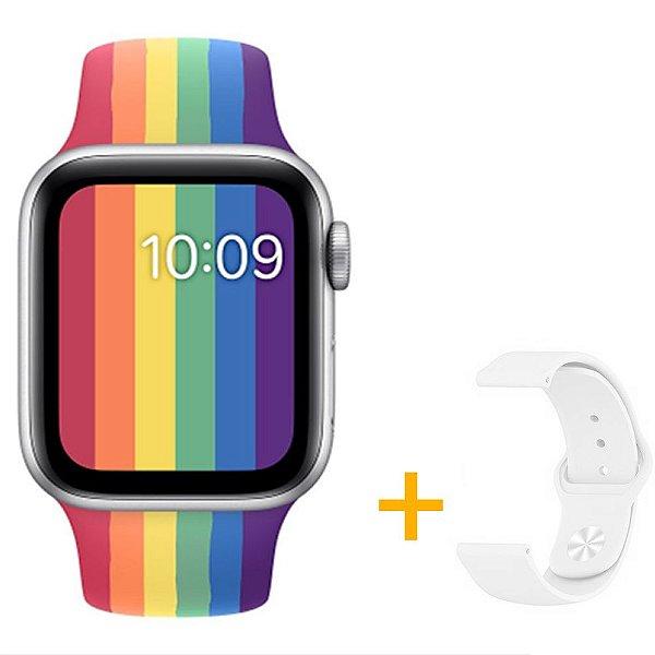 Relógio Smartwatch IWO W26 - Arco Íris - Tela Infinita - iOS / Android - 44mm + Pulseira Extra Branco