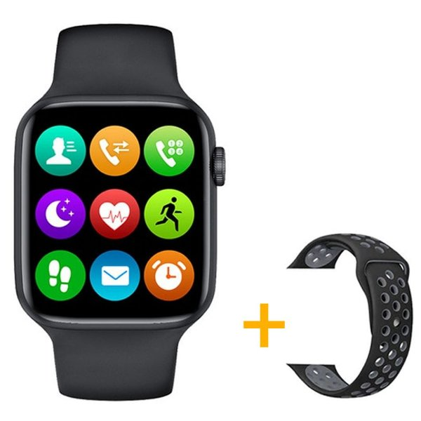 Relógio Smartwatch IWO W26 - Preto - Tela Infinita - IOS / Android - 44mm + Pulseira Extra Borracha