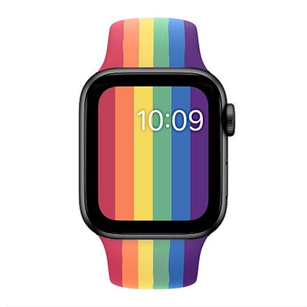 Relógio Smartwatch IWO W26 - Arco Íris Detalhes Preto - Tela Infinita - IOS / Android - 44mm