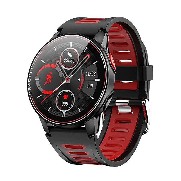 Relógio Smartwatch L6 - Preto com Vermelho - IOS e Android