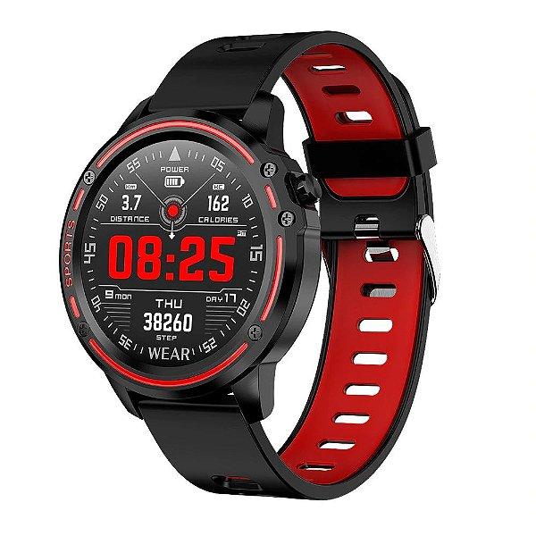 Relógio Smartwatch L8 - Preto com Vermelho - IOS e Android