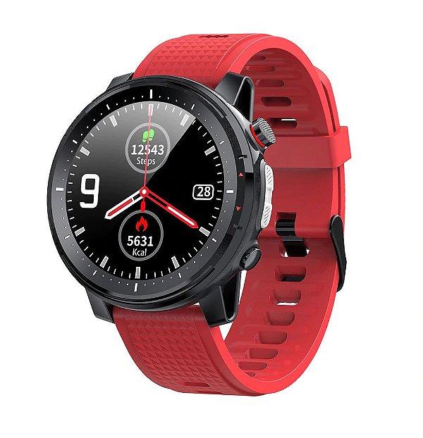Relógio Smartwatch L15 - Preto com Pulseira Vermelho - IOS e Android