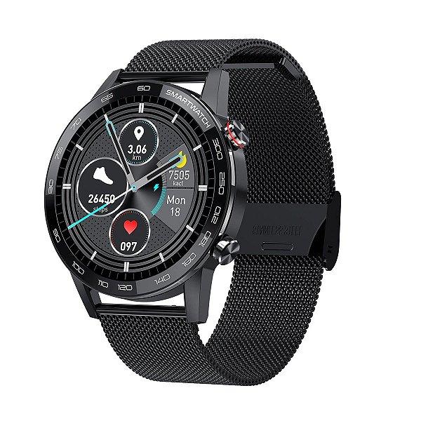 Relógio Smartwatch L16 - Preto com Pulseira Aço Preto - IOS e Android