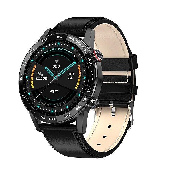 Relógio Smartwatch L16 - Preto com Pulseira Couro Preto - IOS e Android