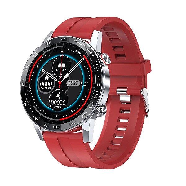 Relógio Smartwatch L16 - Prata com Pulseira Silicone Vermelho - IOS e Android