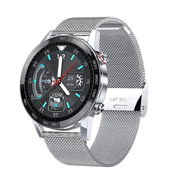 Relógio Smartwatch L16 - Prata com Pulseira Aço Prata - IOS e Android