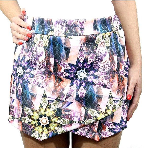 Shorts Saia Assimétrico Floral Rosa- She's Collection