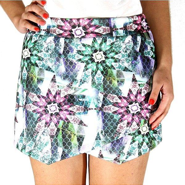 Shorts Saia Assimétrico Floral Verde- She's Collection