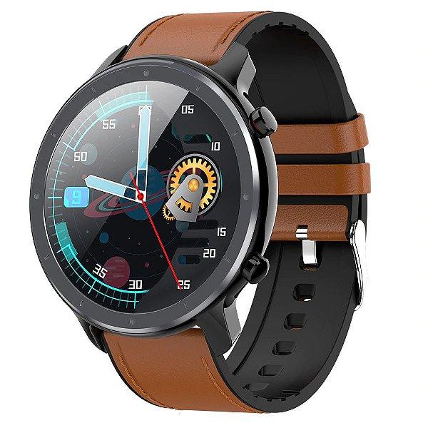 Relógio Smartwatch L17 - Preto com Pulseira Couro Marrom - IOS e Android