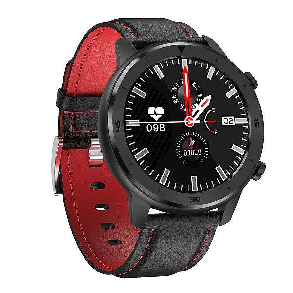 Relógio Eletrônico Smartwatch DT78 - Preto com Vermelho - IOS e Android