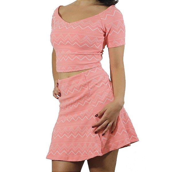 Conjunto Cropped Ombro a Ombro Cor Pêssego - Pink Shine