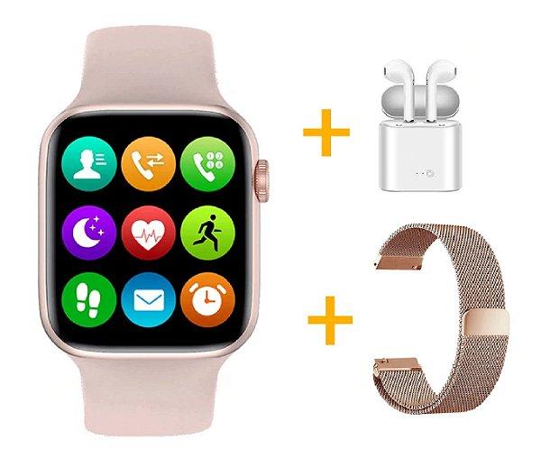 Relógio Smartwatch IWO W26 - Rosa - Tela Infinita - IOS / Android - 44mm + Pulseira Extra + Fone de Ouvido