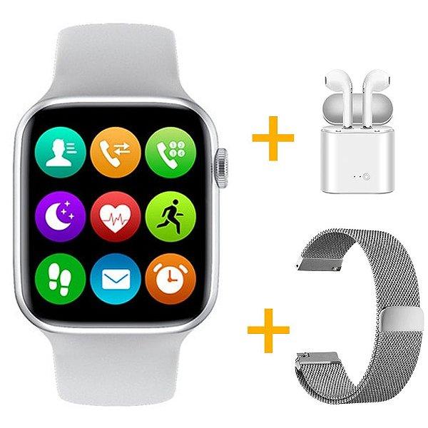 Relógio Smartwatch IWO W26 - Branco - Tela Infinita - IOS / Android - 44mm + Pulseira Extra + Fone de Ouvido