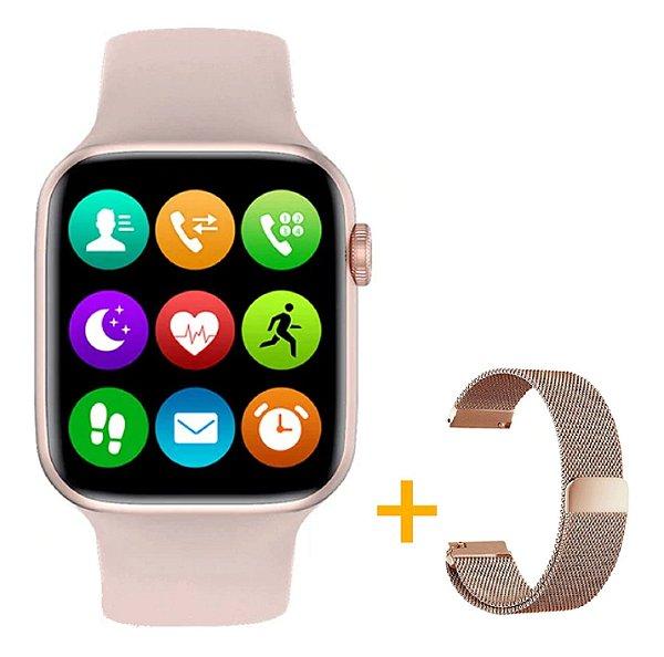 Relógio Smartwatch IWO W26 - Rosa - Tela Infinita - IOS / Android - 44mm + Pulseira Extra