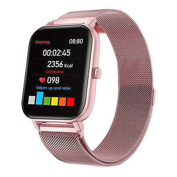 Relógio Eletrônico Smartwatch F22 Rosa + 1 Pulseira de Brinde Rosa - Android e iOS