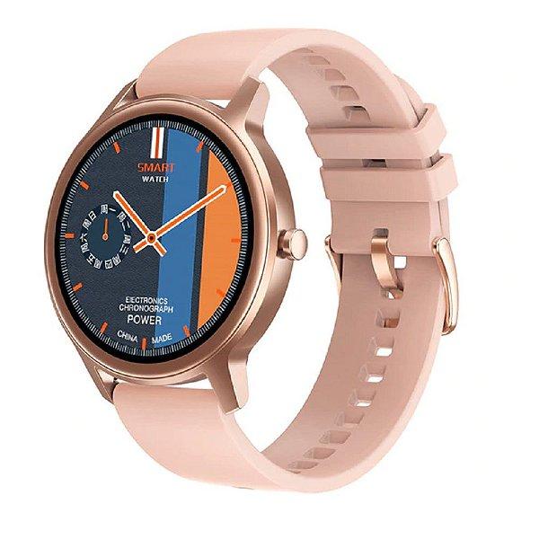 Relógio Eletrônico Smartwatch DT56 - Rosa Silicone - Android / IOS