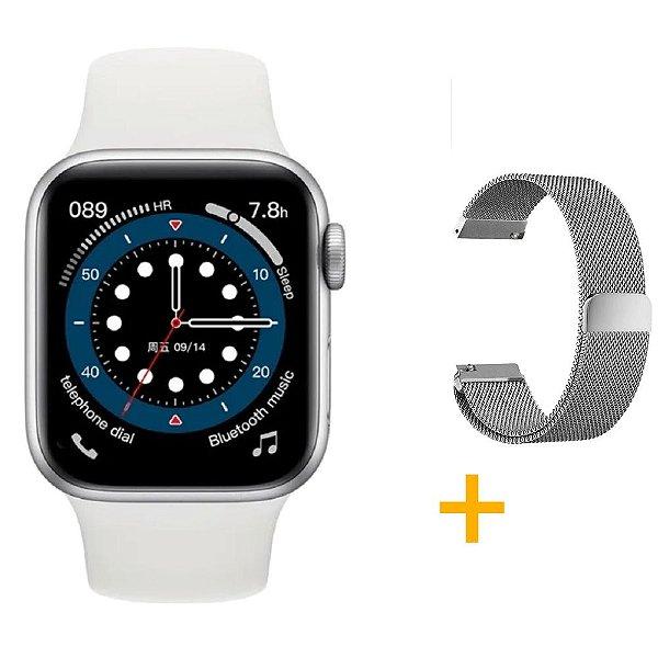 Relógio Smartwatch IWO 13 Tela Infinita - Branco - 44mm + Pulseira Extra