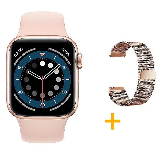Relógio Smartwatch IWO 13 Tela Infinita - Rosa - 44mm + Pulseira Extra