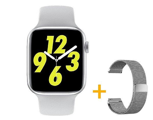 Relógio Smartwatch IWO W26 PRO - Branco - Tela Infinita - IOS / Android - 44mm + Pulseira Extra Milanês