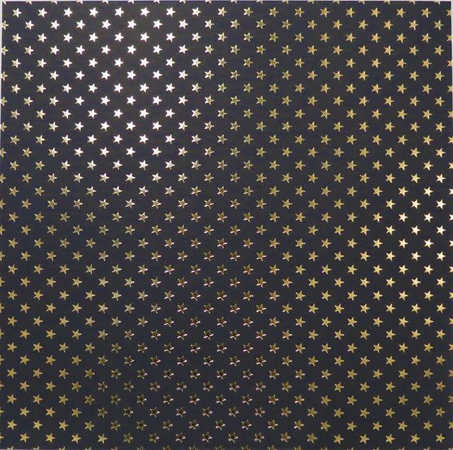 Papel Scrapbook - Estrelas Preto e foil dourado - Toke e Crie