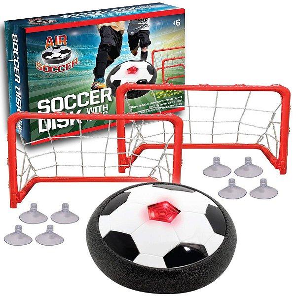 Brinquedo Kit Air Soccer Futebol Disco Flutuante com Traves e LED Soccer Disk +6 anos Maccabi Art