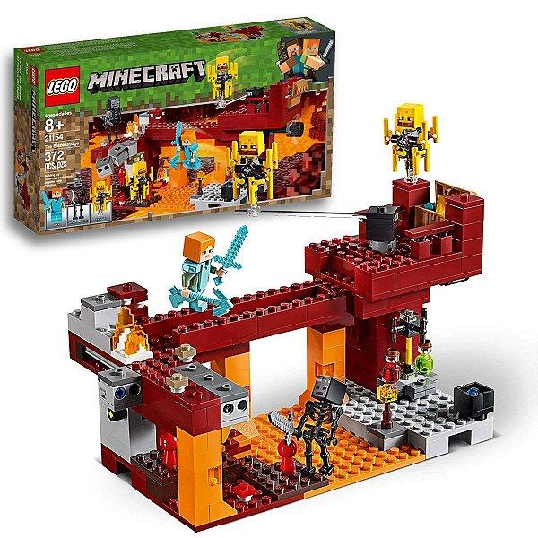 Brinquedo Lego Minecraft A Ponte Flamejante Batalha no Nether Blocos Infantil 372pcs +8 anos