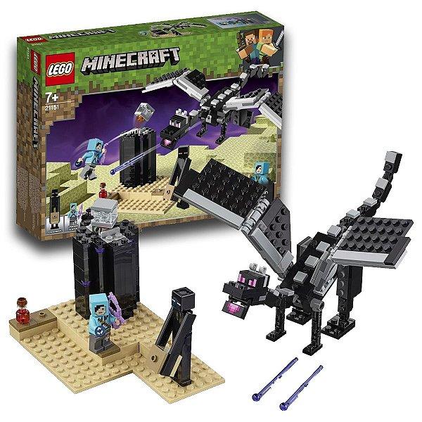 Brinquedo Lego Minecraft O Batalha Final Blocos Construir Divertidos Ender Dragon 222pcs +7 anos