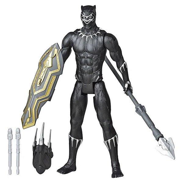 Boneco Marvel Pantera Negra com Acessórios +4 anos Brinquedo Divertido Black Panther Blast Gear Titan Hero Series Hasbro