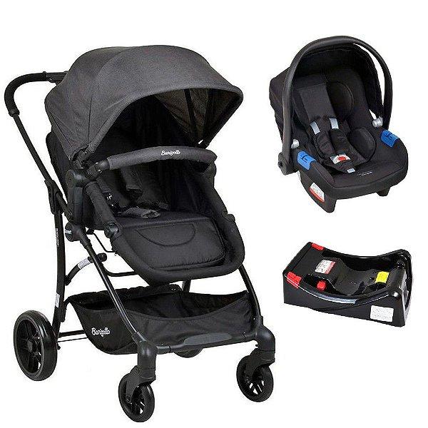 Conjunto Carrinho Convert Dark Gray + Bebê Conforto Touring X Preto + Base Cadeira Burigotto