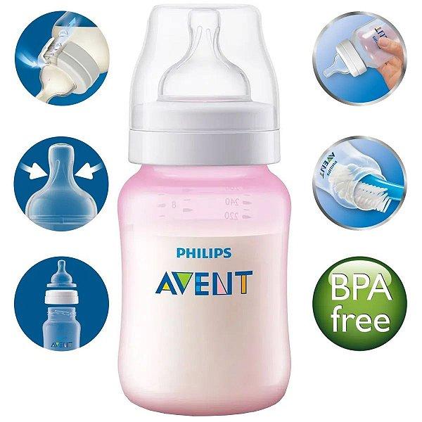 Mamadeira Avent Anticolica Antivazamento Medidor Externo Bebê 260ml +1 Mes Philips Classic Rosa