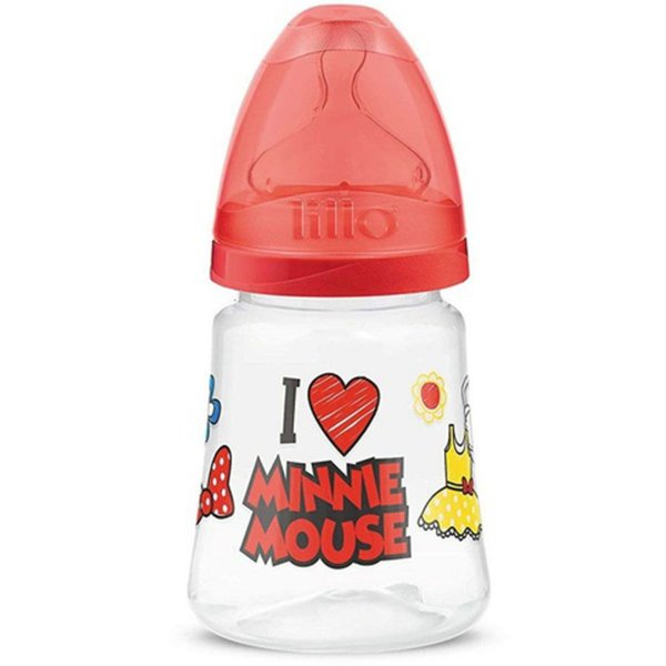 Mamadeira De Bebê Disney Minnie Bico De Silicone 180ml Criança 0 Até 6 Meses Infantil Desenho Moderno Lillo