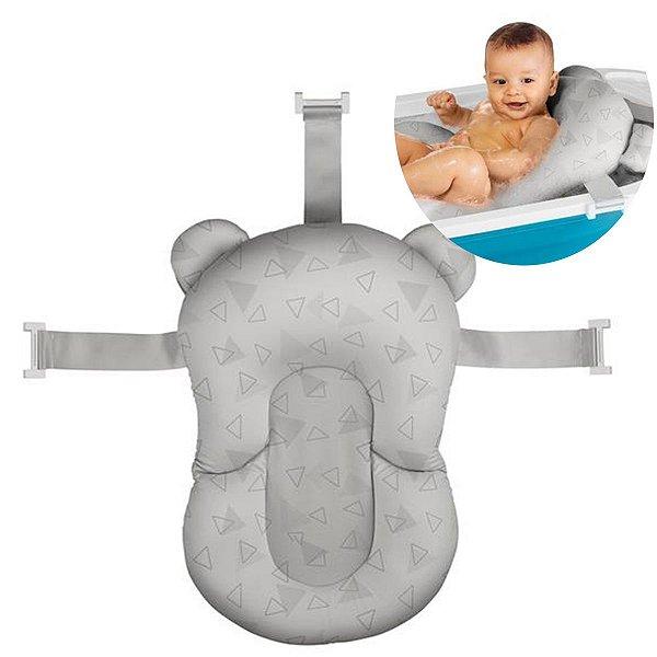 Almofada de Banho Bebê Protetora +0 meses Infantil Sosseguinho Multikids Baby Cinza