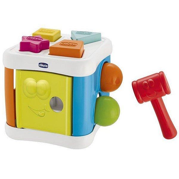 Brinquedo Bebê Educativo Cubo Com Formas 2 em 1 Bate Bate Infantil Criança 10-36 Meses Chicco