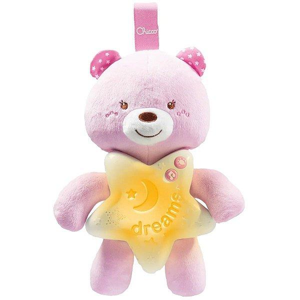 Móbile Ursinho de Pelúcia Com Som E Iluminação Música Clássica A partir do Nascimento Goodnight Bear Chicco Rosa