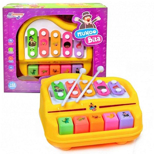 Piano de Bebê Educativo Brinquedo Infantil Xilofone 10 Teclas Mundo Bita