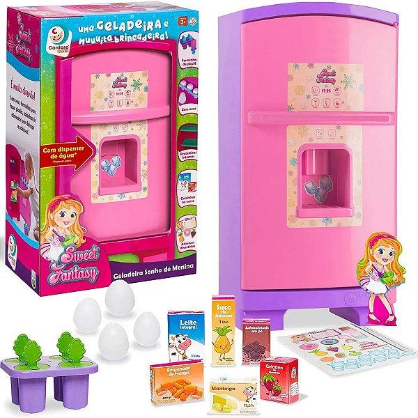 Geladeira Brinquedo Criança Infantil Sonho de Menina Lilás/Rosa Sweet Fantasy Cardoso Toys