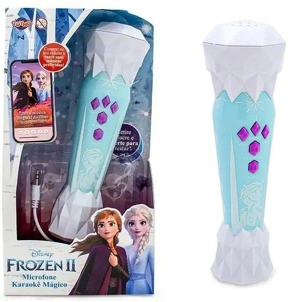 Microfone Mágico Infantil Frozen Com Música Do Filme Karaoke Conecta no Celular Brilha Brinquedo Criança Disney Toing