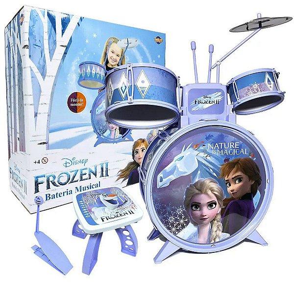 Bateria Musical Infantil Frozen A partir dos 4 Anos Com Banquinho Toyng