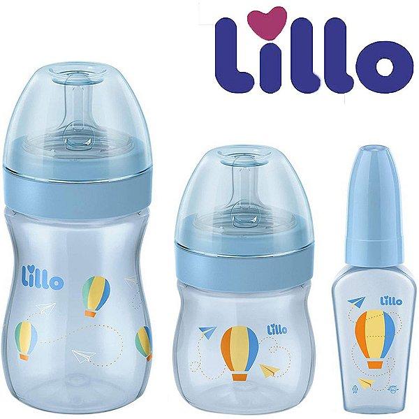 Kit Evolution do Bebê Azul Antivazamento com 3 Mamadeiras 50ml, 150 ml, 240 ml - Lillo