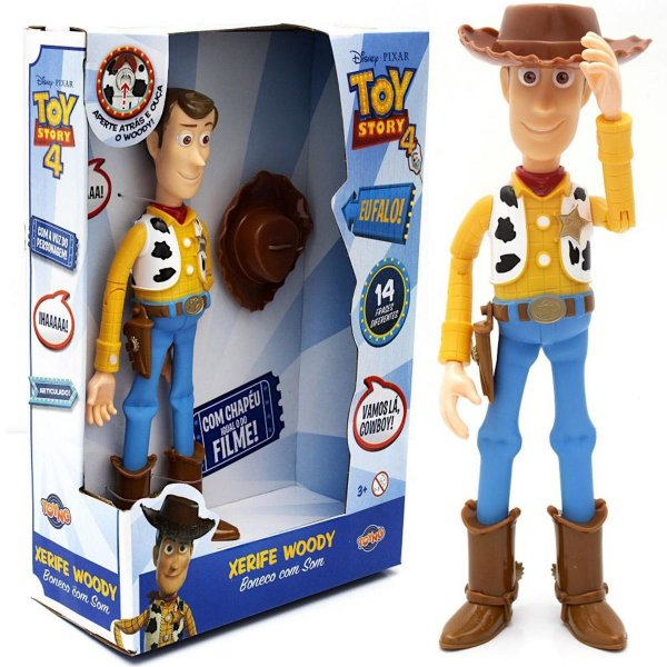 Boneco Brinquedo Infantil Xerife Woody Toy Story Com Som 14 Frases +3 Anos Toyng
