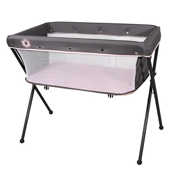 Berço de Bebê Co-Leito Compacto 0 Até 9Kg Bari Galzerano Preto Grafite Rosa