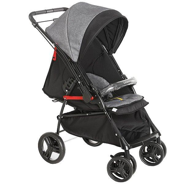 Carrinho Para Bebê Passeio 2 em 1 Nascimento Até 15Kg Reclinavel Maranello II Galzerano Preto Cinza