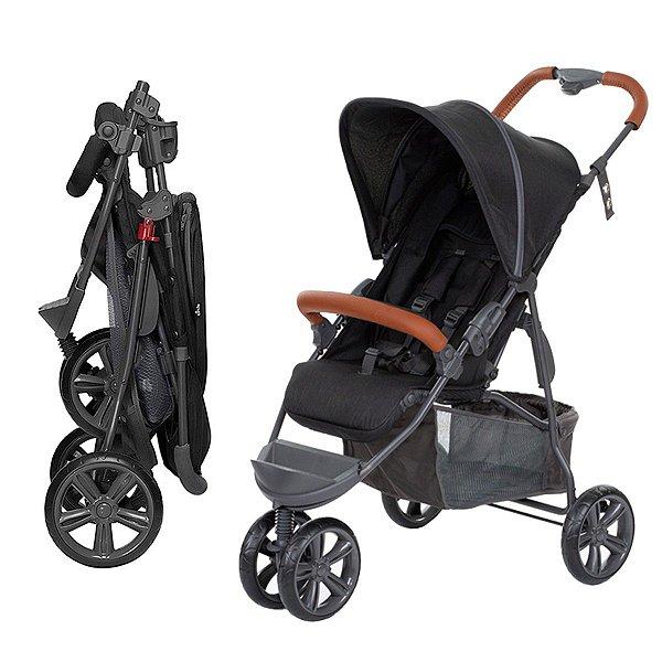 Carrinho Bebê Passeio Reclinavel 4 Posições Função Berço 6 Meses a 15 Kg Moving Light Woven Black Com Couro - Abc Design