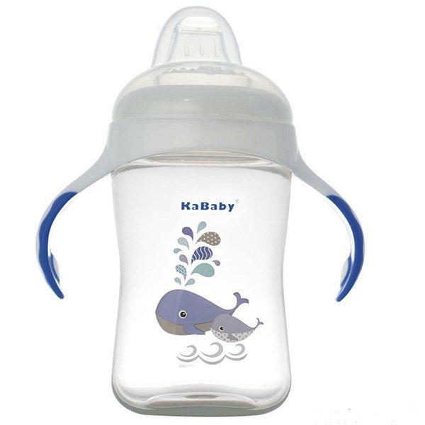 Copo de Bebê Treinamento Com Bico Silicone e Alças 300ml +6 Meses Kababy Azul
