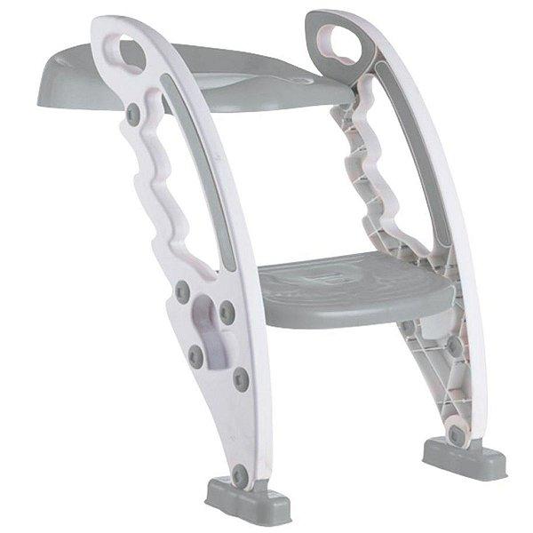 Assento Redutor Com Escada Bebê Vaso Sanitário +3 Anos Até 50 Kg Dobravel Portatil New Style Kababy Cinza
